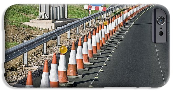 Traffic Control iPhone Cases - Motorway Traffic Cones iPhone Case by Linda Wright
