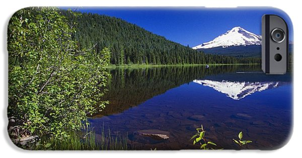 Snowy Day iPhone Cases - Mount Hood And Reflection In Trillium iPhone Case by Natural Selection Craig Tuttle