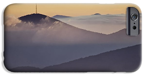 Clouds Photographs iPhone Cases - Mount Pisgah in Morning Light - Blue Ridge Mountains iPhone Case by Rob Travis