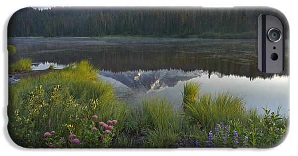 Rainy Day iPhone Cases - Mount Rainier And Reflection Lake Mount iPhone Case by Tim Fitzharris