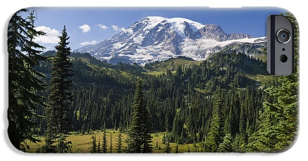 Rainy Day iPhone Cases - Mount Rainier With Coniferous Forest iPhone Case by Konrad Wothe