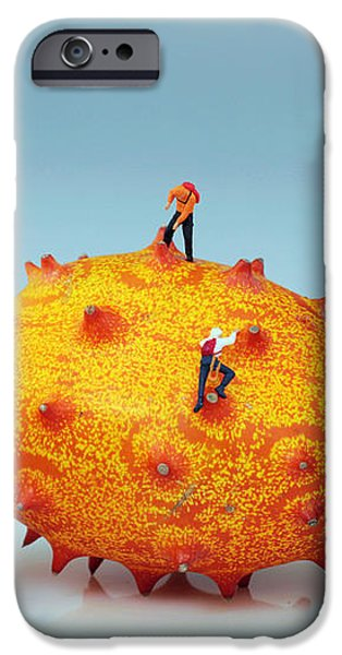 Mountain climber on mangosteens II iPhone Case by Paul Ge