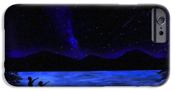 Stargazing Paintings iPhone Cases - Mountain Lake Glow in the Dark Mural iPhone Case by Frank Wilson