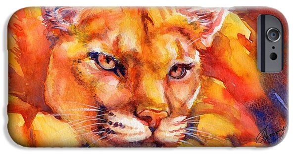 Summer Celeste iPhone Cases - Mountain Lion Red-Yellow-Blue iPhone Case by Summer Celeste