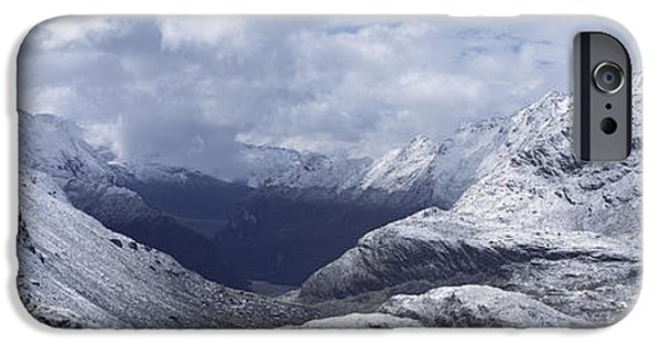 Snowy Day iPhone Cases - Mountain Pass Between Snowy Peaks iPhone Case by Axiom Photographic