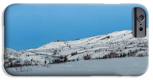 Winter Roads iPhone Cases - Mountain range along the Dempster Highway iPhone Case by Priska Wettstein