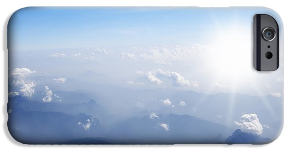 Stratosphere iPhone Cases - Mountain With Blue Sky And Clouds iPhone Case by Setsiri Silapasuwanchai