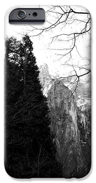 Mountains of Yosemite . 7D6213 . Black and White iPhone Case by Wingsdomain Art and Photography
