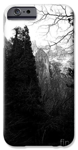 Mountains of Yosemite . 7D6214 . Black and White iPhone Case by Wingsdomain Art and Photography