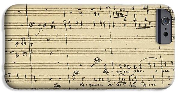 Sheets Photographs iPhone Cases - Mozart: Requiem Excerpt iPhone Case by Granger