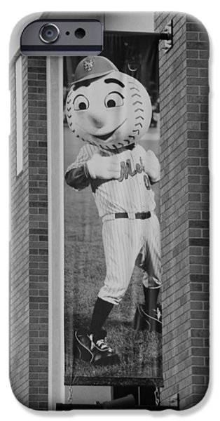 MR MET in BLACK AND WHITE iPhone Case by ROB HANS