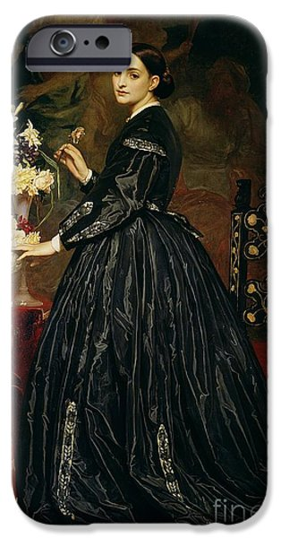 Leighton Frederic 1830-96 iPhone Cases - Mrs James Guthrie iPhone Case by Frederic Leighton