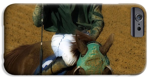 Horse Racing Digital Art iPhone Cases - Mud Sweat and Tears  iPhone Case by Steven  Digman