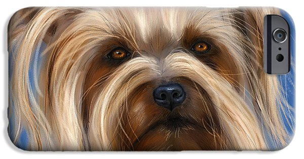 Canine Framed Prints Digital Art iPhone Cases - Muffin - Silky Terrier Dog iPhone Case by Michelle Wrighton