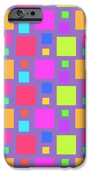 Louisa Knight iPhone Cases - Multicoloured Squares iPhone Case by Louisa Knight