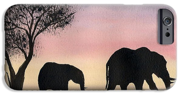 Elephants iPhone Cases - Mum And Baby iPhone Case by Mohamed Hirji