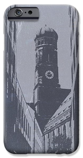 Towns Digital Art iPhone Cases - Munich Frauenkirche iPhone Case by Naxart Studio