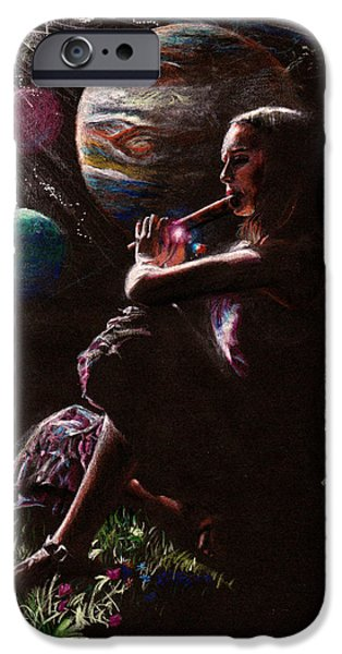 Outer Space Drawings iPhone Cases - Muse with Flute iPhone Case by Alan Schwartz