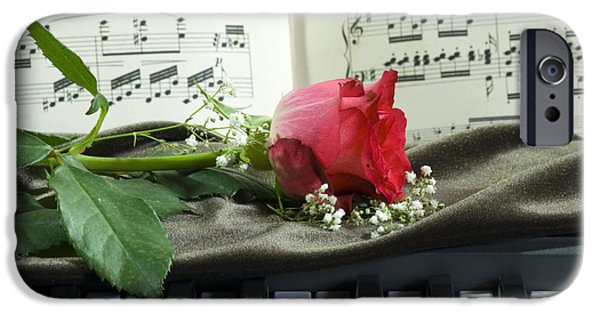 Rose iPhone Cases - Music and Roses iPhone Case by Sophie De Roumanie