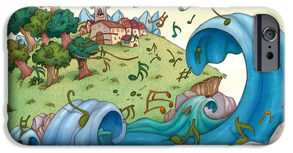 People Drawings iPhone Cases - Musical Coast Town iPhone Case by Autogiro Illustration