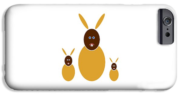 Animal Drawings iPhone Cases - Mustard Bunnies iPhone Case by Frank Tschakert