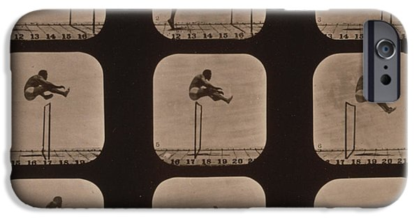 High Speed Photography iPhone Cases - Muybridge Locomotion of Man Jumping iPhone Case by Photo Researchers