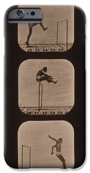 Muybridge Locomotion of Man Jumping iPhone Case by Photo Researchers