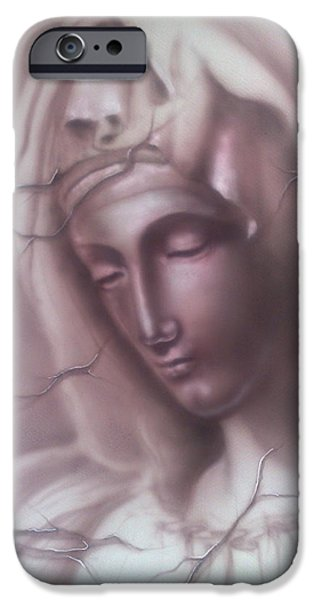 Airbrush Drawings iPhone Cases - My Mary iPhone Case by Dimitri Kartsaklis