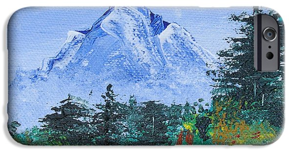 Bob Ross iPhone Cases - My Mountain Wonder iPhone Case by Jera Sky