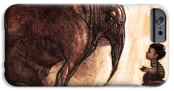 Concept Digital Art iPhone Cases - My New Friend iPhone Case by Alex Ruiz