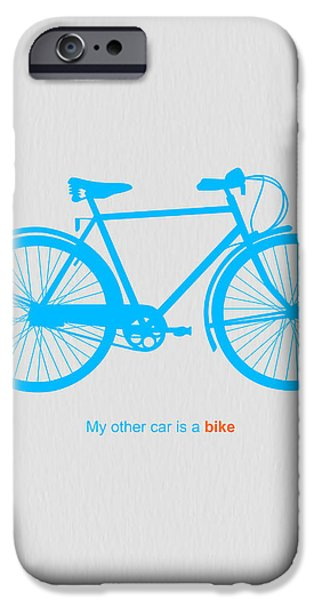 Bicycles iPhone Cases - My Other Car Is A Bike  iPhone Case by Naxart Studio