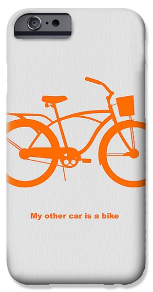 Bicycles iPhone Cases - My other car is bike iPhone Case by Naxart Studio
