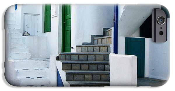 White House iPhone Cases - Mykonos Stairs iPhone Case by Rebecca Margraf