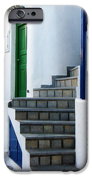 Mykonos Stairs iPhone Case by Rebecca Margraf