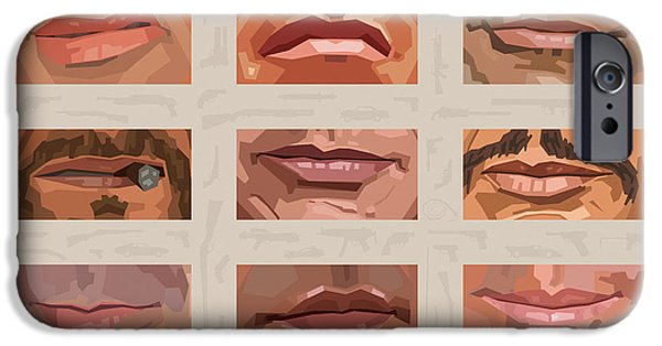Cop iPhone Cases - Mystery Mouths of the Action Genre iPhone Case by Mitch Frey