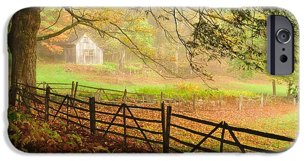 Old Barns iPhone Cases - Mystique - A Connecticut Autumn scenic iPhone Case by Thomas Schoeller