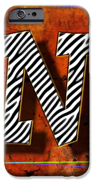 Leaning Pyrography iPhone Cases - N iPhone Case by Mauro Celotti