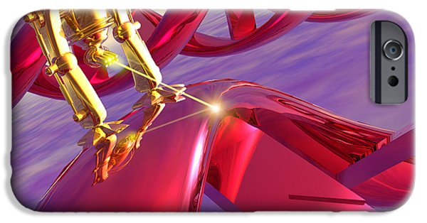 Dna Art iPhone Cases - Nanorobot On Dna iPhone Case by Victor Habbick Visions