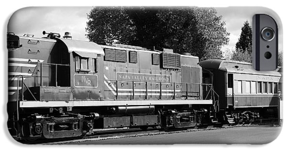 Vineyard Photograph iPhone Cases - Napa Valley Railroad Wine Train Locomotive in Napa California Wine Country . Black and White . 7D899 iPhone Case by Wingsdomain Art and Photography