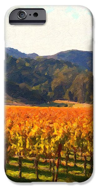 Napa Valley Vineyard in Autumn Colors iPhone Case by Wingsdomain Art and Photography