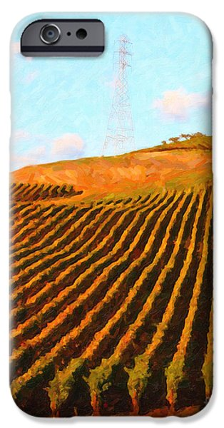 Napa Valley Vineyard . Portrait Cut iPhone Case by Wingsdomain Art and Photography