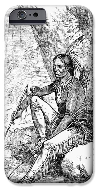 NATIVE AMERICAN WITH PIPE iPhone Case by Granger