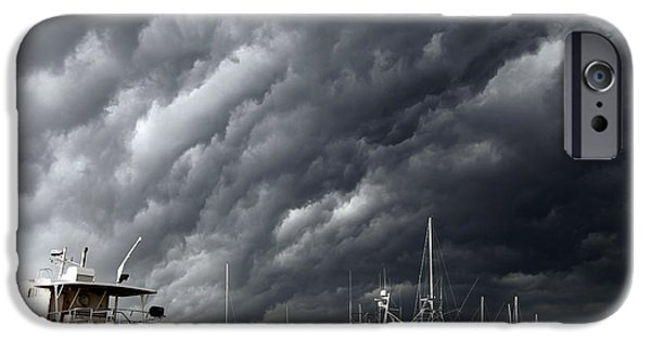 Grey Clouds Photographs iPhone Cases - Natures Fury iPhone Case by Karen Wiles