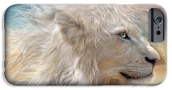 African Lion Art iPhone Cases - Natures King iPhone Case by Carol Cavalaris