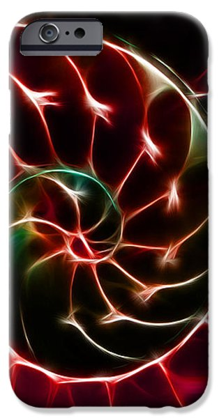 Nautilus Shell - Electric - v2 - Red iPhone Case by Wingsdomain Art and Photography
