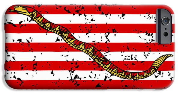 American History Mixed Media iPhone Cases - Navy Jack Flag iPhone Case by War Is Hell Store