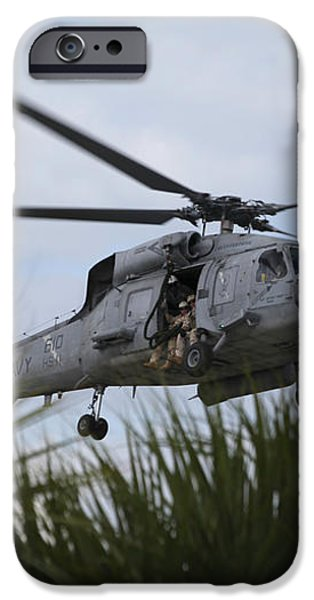 Navy Seals Look Out The Helicopter Door iPhone Case by Michael Wood