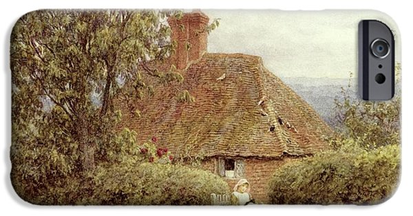 Garden Scene Paintings iPhone Cases - Near Haslemere iPhone Case by Helen Allingham
