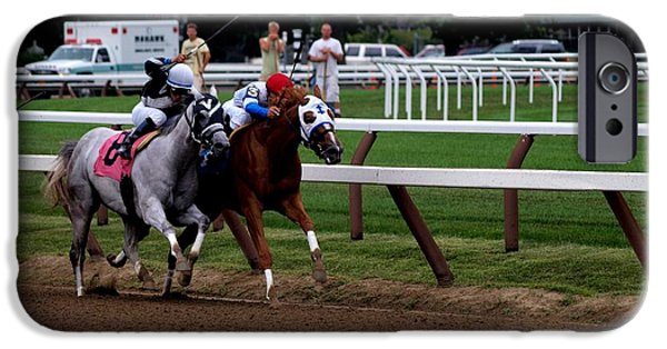 Horse Racing iPhone Cases - Neck and Neck at Saratoga two iPhone Case by Joshua House