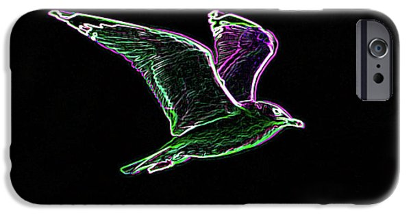Flying Seagull Digital Art iPhone Cases - Neon Gull iPhone Case by Betty LaRue